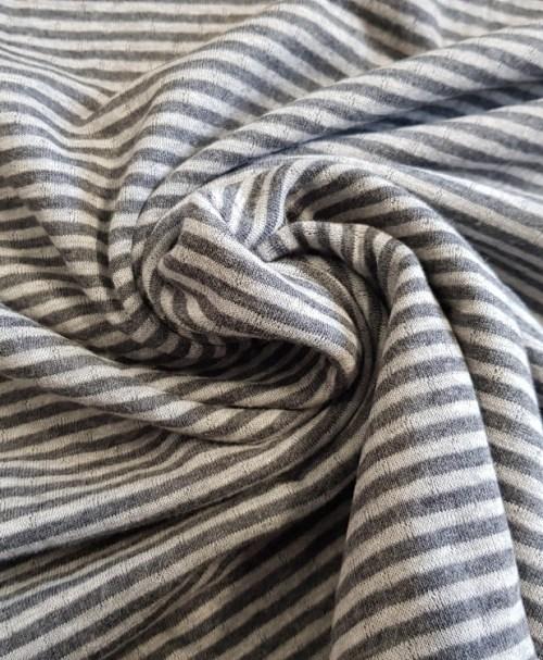 Baumwoll-Jacquard-Strick Doubleface Streifen/Punkte grau