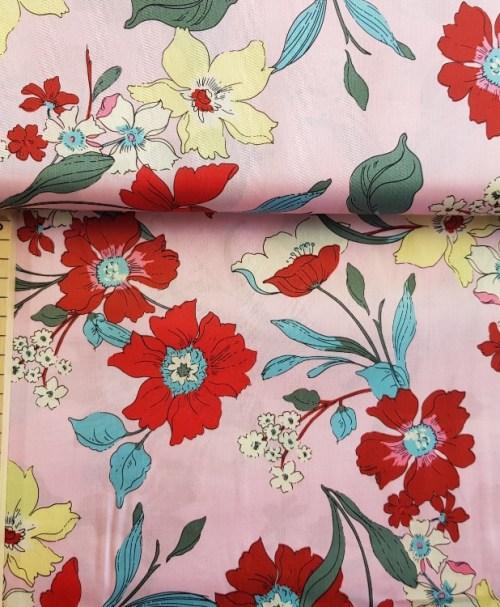 Milliblu´s Webware Baumwollsatin Blumen rosa/rot