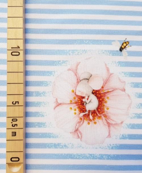 Bio-Jersey Panel Mäuschen Blume blau by Mila Panele