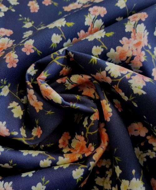 Webware Poplin Kirschblüten dunkelblau