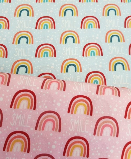 Hilco Poplin Stay healthy, Smile, Regenbogen rosa