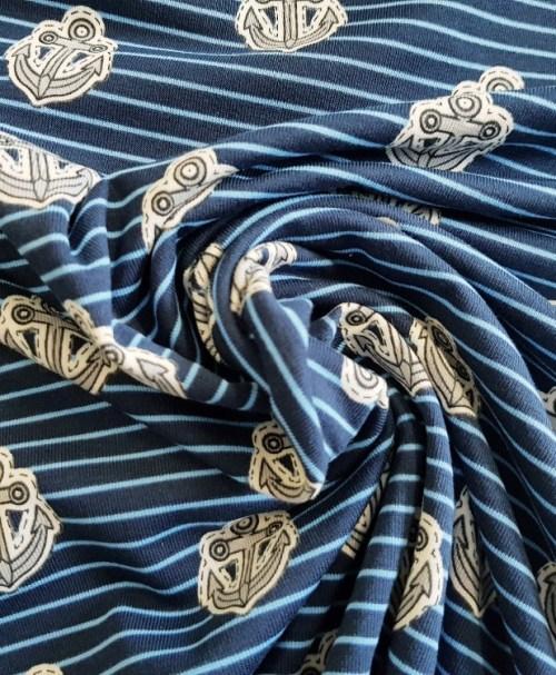 Jersey Anker auf Streifen, dunkelblau