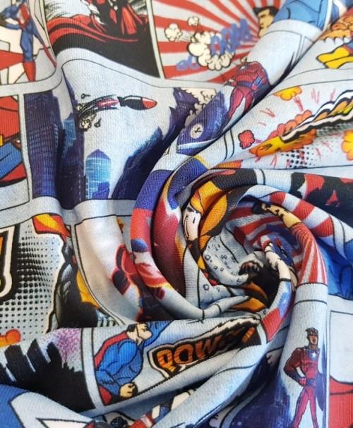 Fräulein von Julie Jersey Superhelden Comic, jeansoptik