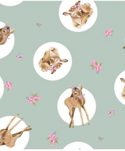 French Terry SWEET LITTLE DEER, Rehkitz, Blumen, Schleifen, mint / rosa
