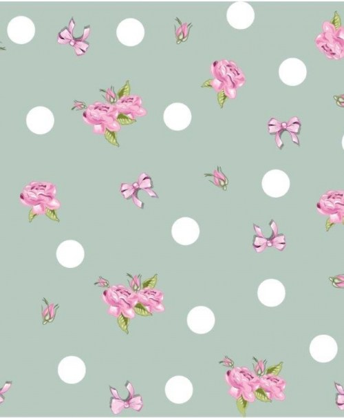 French Terry SWEET LITTLE DOTS, Punkte, Blumen, Schleifen, mint / rosa