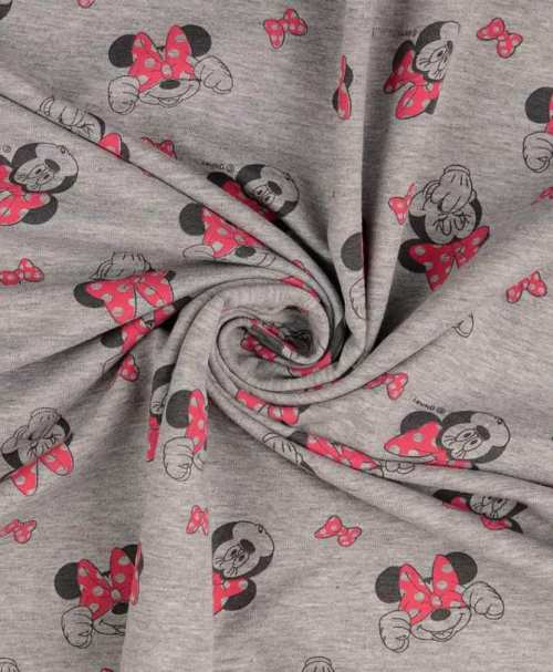 Lizenz-French Terry angeraut, Disney grau-melange, Minnie Mouse