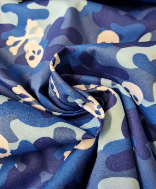 Webware Poplin Camouflage, Skulls, blau