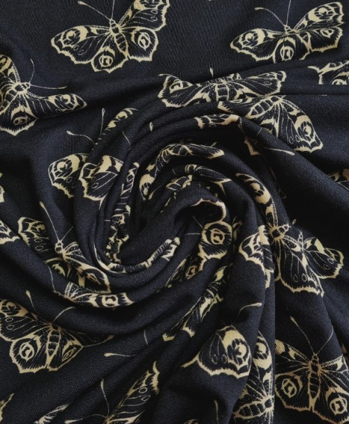 Fräulein von Julie Viskose-Crepe-Jersey Schmetterlinge schwarz