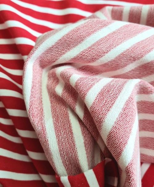French Terry Streifen rot/weiß