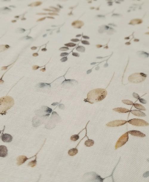 Organic Musselin glatt Mohnknospe, Zweige, natur