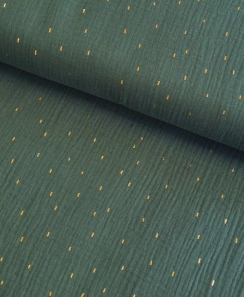 Musselin Foil Stripes dunkles altgrün/gold