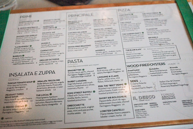 the menu at IL DESCO