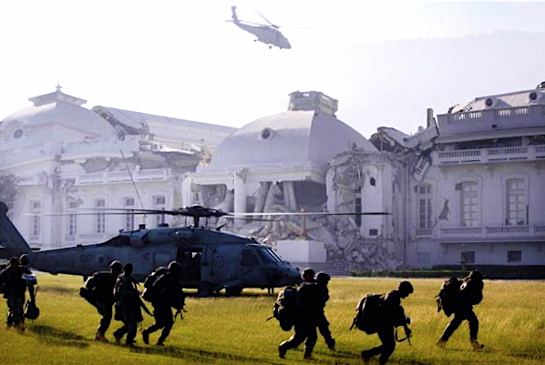 US troops land on grounds of Haitian National Palace