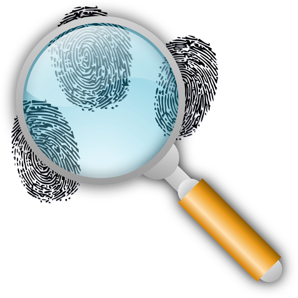 Magnifying glass showing fingerprints