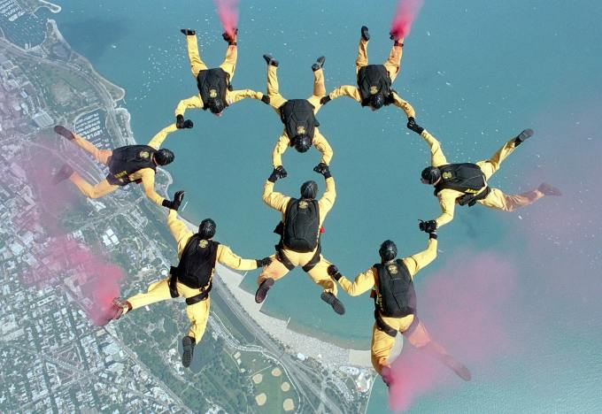 Skydiving formation to illustrate how to promote LinkedIn company page.
