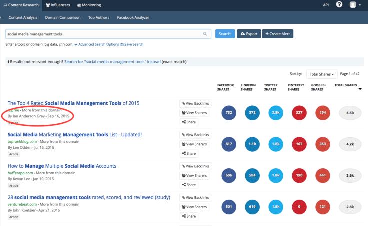 BuzzSumo results for social media management tools