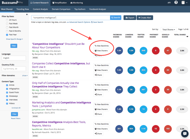 BuzzSumo Screenshot - backlinks/sharers