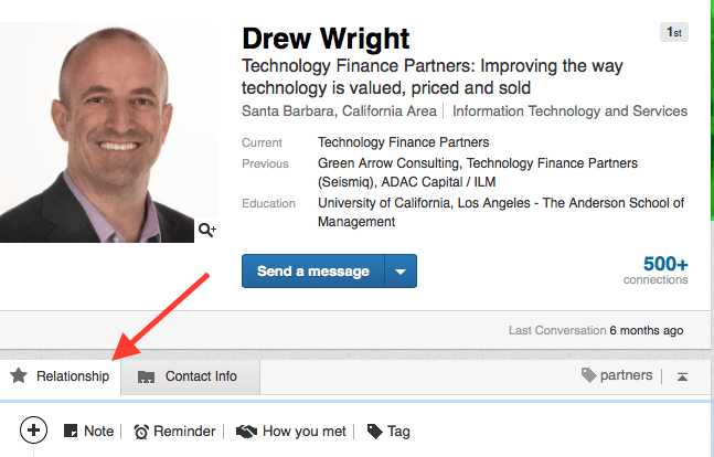 Using LinkedIn's relationship functionality