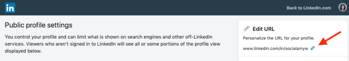 Customize LinkedIn public profile URL step 4.