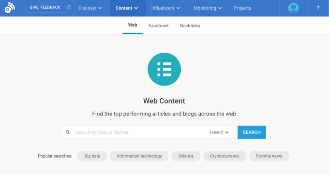 Screenshot of BuzzSumo's content analyzer tool.
