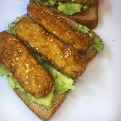 vegan tempeh bacon avocado toast