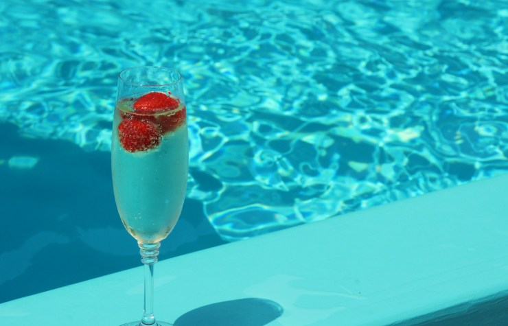 prosecco by the pool