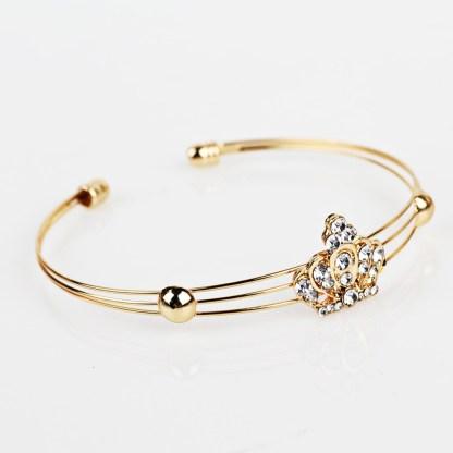 Crystal Crown Gold Necklaces Pendants Earrings Bracelet Women Jewelry Set