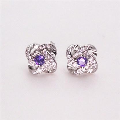 Elegant Purple Silver Plated Earrings Women Fashion Jewelry