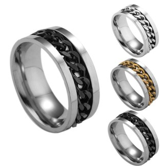 Titanium Steel Chain Finger Ring Men Fashion Jewelry