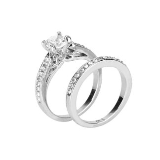 Two Pieces Zircon Wedding Band Rings Fashion Jewelry Set