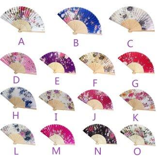 Multi-Color Floral Print Folding Women Girls Hand Fan