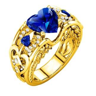 Gorgeous Golden Heart Ring Women Fashion Jewelry