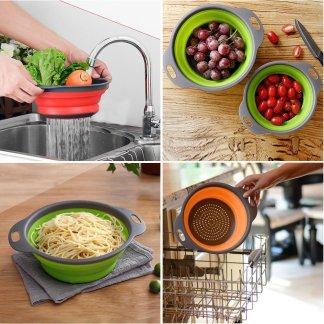 Collapsible Silicone Colander Fruit Vegetable Strainer Washing Basket