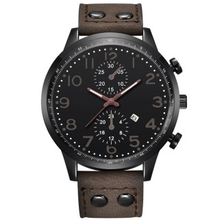 Analog Quartz Movement Leather Band Stainless Steel Men Wrist Watch