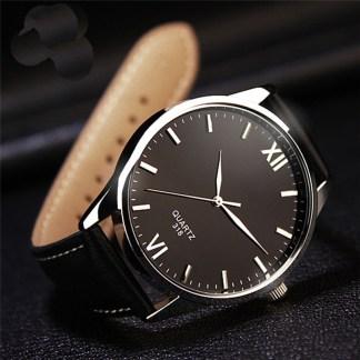 Classic Simple Glass Quartz Analog Luminous Men Wrist Watch