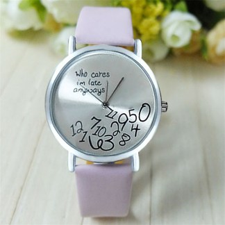 Pattern Surface Words Who Cares I am Late Anyway Women Wrist Watch