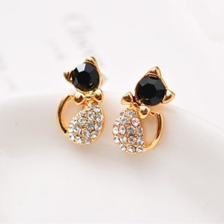 Black Crystal Rhinestones Cat Stud Earrings Women Fashion Jewelry