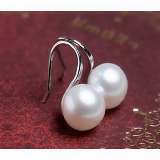 Simple White Round Faux Pearl Women Fashion Jewelry Hook Earrings