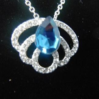 Crystal Rhinestones Crown Pendant Necklace
