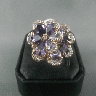 Genuine Austrian Purple Women Ring Fashion Jewelry