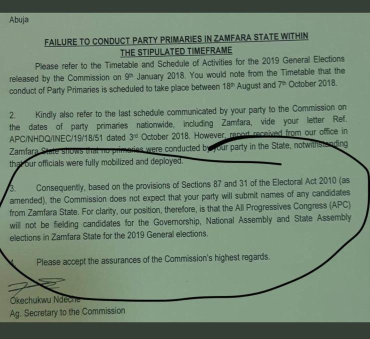 BREAKING: INEC Bans APC From Fielding Candidates In Zamfara