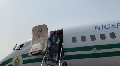 President Buhari Arrives Lagos For APC Mega Rally (Video)