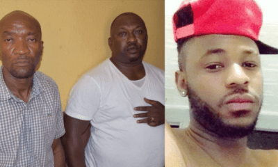 Inspector Ogunyemi Olalekan (middle) says he didn't intend to kill Kolade Johnson when he shot in the air during an altercation in Lagos State that led to the death of the 36-year-old. Sergeant Godwin Orji (left) is also implicated in the shooting with both officers expected to be charged to court for murder.