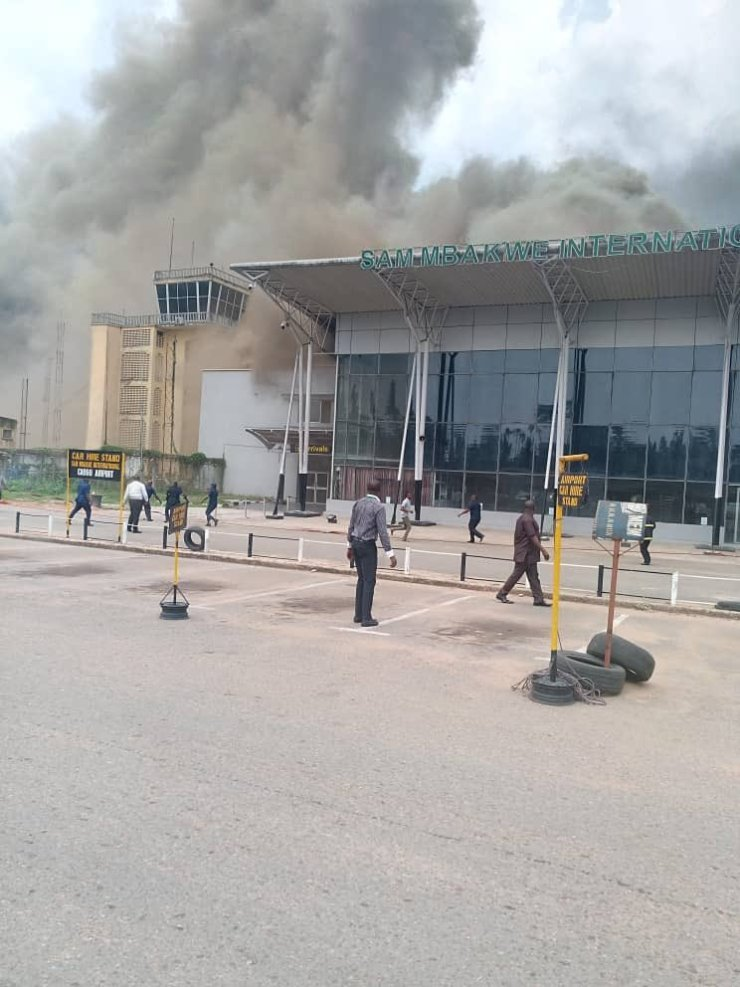Fire Guts Sam Mbakwe Airport In Imo (Video/Photos)