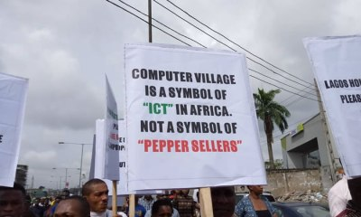 """Several shops have been shut at Computer Village, Ikeja, Lagos following a protest against the alleged planned installation of female and male market leaders """"Iyaoloja"""" and """"Babaloja""""."""