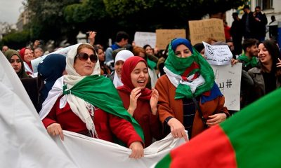 """Thousands of protesters rallied peacefully in Algiers after Friday prayers, chanting """"We will not shut up!"""" and demanding the departure of Algeria's ruling elite a month after the downfall of President Abdelaziz Bouteflika."""