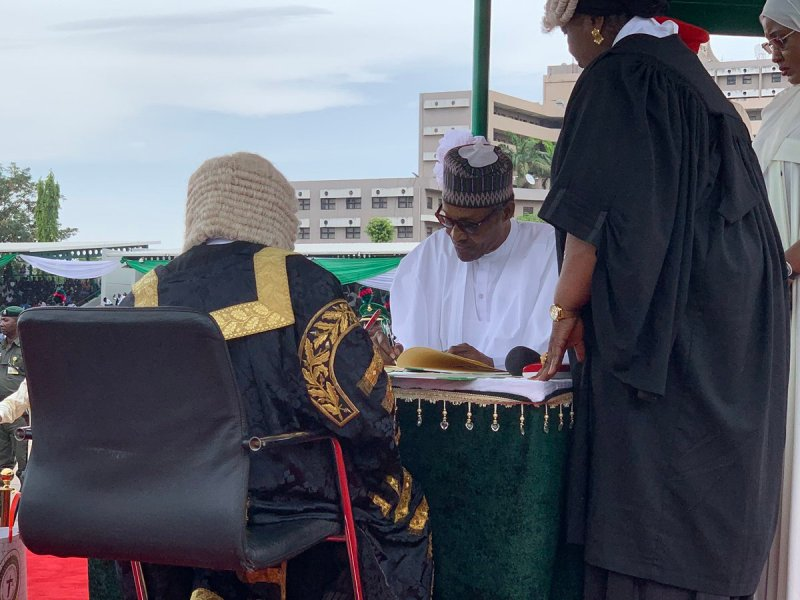 Muhammadu Buhari has been sworn in for a second term as President of the Federal Republic of Nigeria in a ceremony at the Eagle Square in Abuja, the nation's capital.