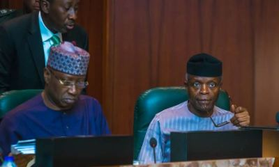 Vice President Yemi Osinbajo presiding over an extraordinary session of the Federal Executive Council holding at the State House in Abuja.