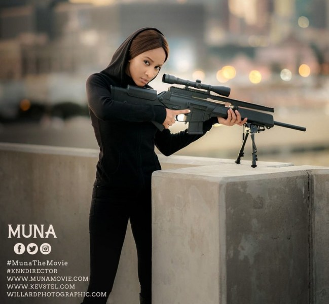 Nollywood star Adesua Etomi-Wellington displays excellent martial arts skills to protects the human race in the intense trailer movie, 'Muna'.
