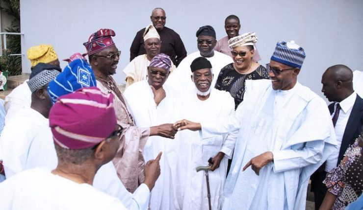 President Muhammadu Buhari on Tuesday welcomed leaders of the Afenifere group at the presidential villa Abuja.
